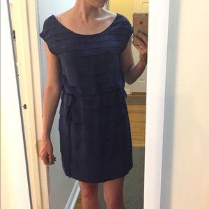 Navy silk pleated mini dress!